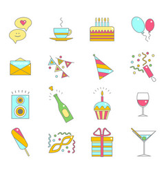party celebration color line icon set vector image vector image