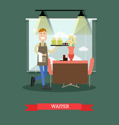 waiter in flat style vector image vector image
