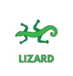 Cartoon lizard flashcard for children vector
