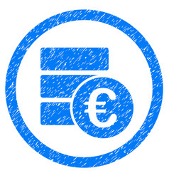 euro money database rounded icon rubber stamp vector image vector image