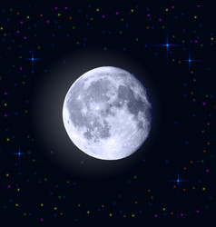 full moon with craters and stars around vector image