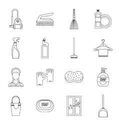 House cleaning icons set outline style vector image vector image