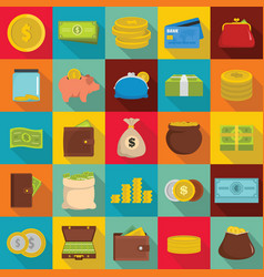 money icons set flat style vector image vector image