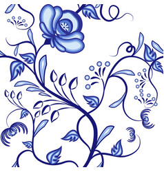 seamless floral pattern background of blue vector image