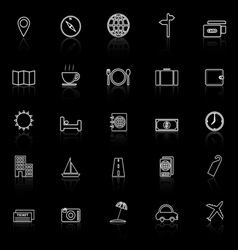 Travel line icons with reflect on black background vector image vector image