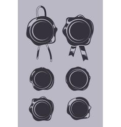 Wax seals black templates set vector image