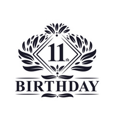11 years birthday logo luxury 11th birthday vector