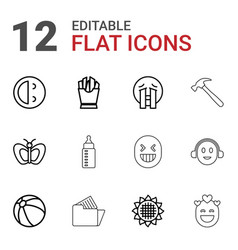 12 yellow icons vector