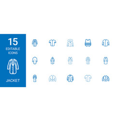 15 jacket icons vector
