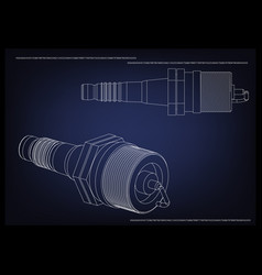 3d model of the spark plug vector