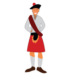 a person dressed in traditional scottish costume vector image