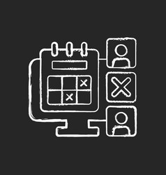 Absence calendar chalk white icon on dark vector