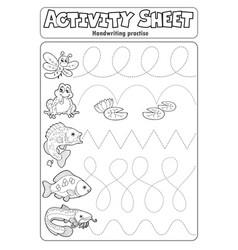 Activity sheet handwriting practise 7 vector