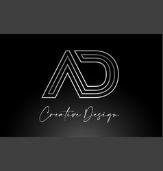 Ad letter logo design with monogram lines vector
