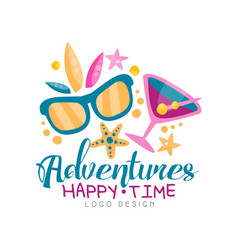Adventures happy time logo design beach summer vector