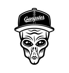 alien head in cap in vintage vector image