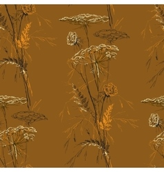 Autumn Brown Seamless Vintage Pattern with Herbs vector image