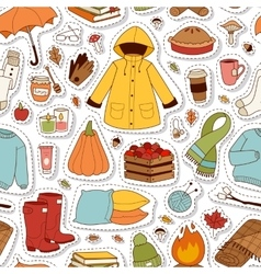Autumn icons seamless pattern vector image