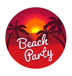 Beach party emblem vector