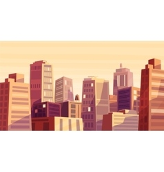 Beautiful sunset over cartoon city vector