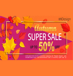 bright geometric golden autumn super sale banner vector image