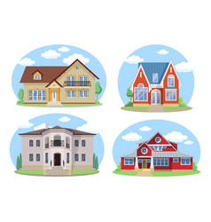buildings set flat design houses set vector image