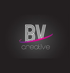 bv b v letter logo with lines design and purple vector image