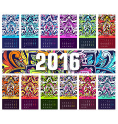 calendar 2016 year set of ethnic ornament banners vector image