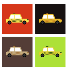 Car linear icon taxi thin line automobile vector