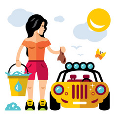 car wash girl flat style colorful cartoon vector image