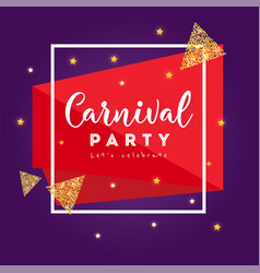 carnival party greeting card with stars firework vector image