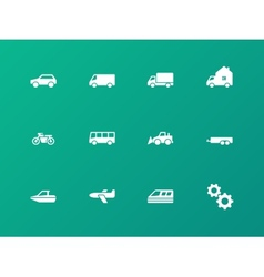 cars and transport icons on green background vector image
