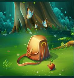 cartoon background forest vector image