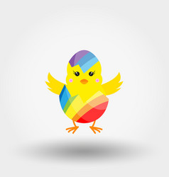 Chick in eggshell rainbow colors icon vector