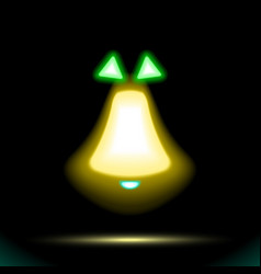 Christmas golden yellow bell icon neon lamp with vector