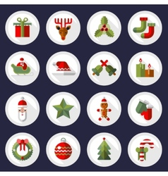 Christmas icons buttons set vector