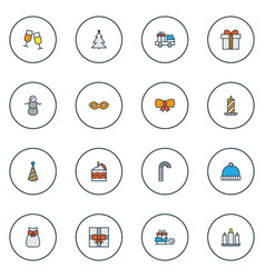 christmas icons colored line set with cake piece vector image