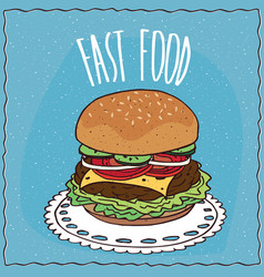 classic cheeseburger in handmade cartoon style vector image