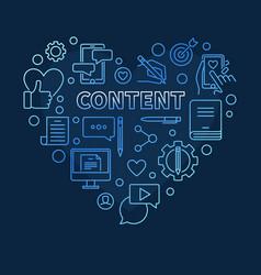 content heart blue concept linear vector image