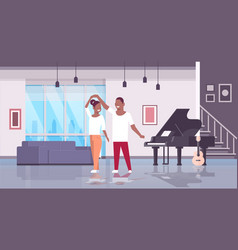 Couple dancing man woman happy lovers home hall vector