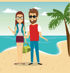 Couple in the beach characters vector