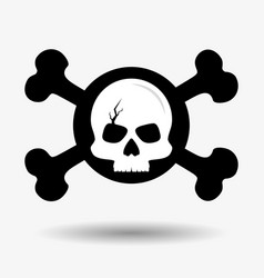 cracked skull and crossed bones icon pirates vector image