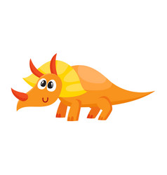 cute and funny smiling baby triceratops dinosaur vector image