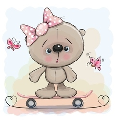 Cute Bear Girl with skateboard vector