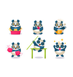 cute funny pandas characters set adorable chinese vector image
