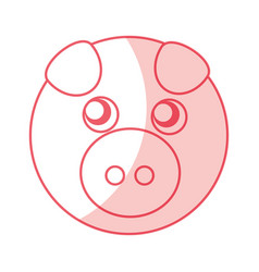 Cute piggy character icon vector