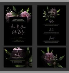 Dark wedding invitation kit black background vector
