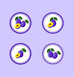 design stickers with ripe tasty plum vector image