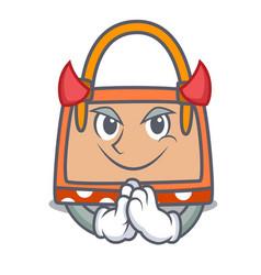 Devil hand bag mascot cartoon vector