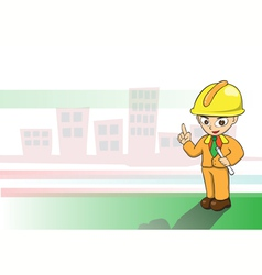 Engineers cartoon on building background vector